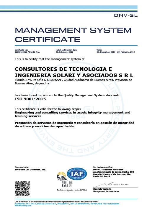 CTI Solari y Asociados certifica su calidad bajo ISO 9001:2008 desde febrero 2013 hasta la fecha